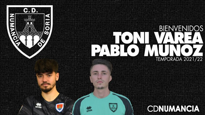 Toni Varea y Pablo Muñoz jugadores del Club Deportivo Numancia de Soria